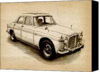 Drawing Canvas Prints - Rover P5 1968 Canvas Print by Michael Tompsett