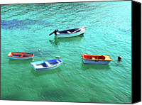 Rowboat Canvas Prints - Row Boats On Turquoise Water Canvas Print by Leniners