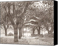 Louisiana Drawings Canvas Prints - Row of Oaks Canvas Print by Kevin Lawrence Leveque