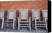 Rocking Chairs Photo Canvas Prints - Row of Rocking Chairs Canvas Print by Skip Nall