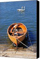 Blue Swan Canvas Prints - Rowboat Canvas Print by Joana Kruse