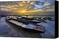 Rowboats Canvas Prints - Rowboats at Dawn Canvas Print by Debra and Dave Vanderlaan