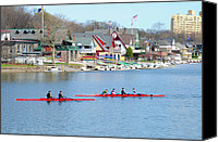 Park Digital Art Canvas Prints - Rowing Along the Schuylkill River Canvas Print by Bill Cannon