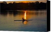 Boathouse Row Canvas Prints - Rowing at Sunset 2 Canvas Print by Bill Cannon