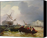 Storm Painting Canvas Prints - Rowing Boat Going to the Aid of a Man-o-War in a Storm Canvas Print by George Chambers