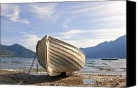 Rowing Canvas Prints - Rowing boat on Lake Maggiore Canvas Print by Joana Kruse