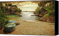 Rowboat Canvas Prints - Rowing Boats On Beach Canvas Print by Roy Jankowski