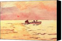 Setting Sun Canvas Prints - Rowing Home Canvas Print by Winslow Homer