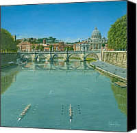 Vatican Painting Canvas Prints - Rowing on the Tiber Rome Canvas Print by Richard Harpum