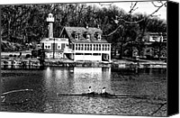 Boathouse Row Canvas Prints - Rowing Past Turtle Rock Light House in Black and White Canvas Print by Bill Cannon