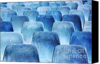 Arena Photo Canvas Prints - Rows of blue chairs Canvas Print by Carlos Caetano