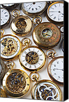 Minutes Photo Canvas Prints - Rows Of Pocket Watches Canvas Print by Garry Gay