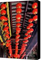 Oil Lamp Canvas Prints - Rows of red Chinese paper lanterns - Shanghai China Canvas Print by Christine Till - CT-Graphics