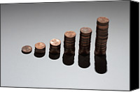 Cent Canvas Prints - Rows Of Stacks Of Five Cent Euro Coins Increasing In Size Canvas Print by Larry Washburn