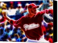 Roy Halladay Canvas Prints - Roy Halladay Magic baseball Canvas Print by Paul Van Scott