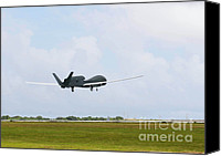 Global Hawk Canvas Prints - Rq-4 Global Hawks First Flight Canvas Print by Photo Researchers