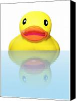 Bathe Canvas Prints - Rubber Ducky Canvas Print by Karen Wallace
