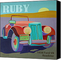 Antique Automobiles Digital Art Canvas Prints - Ruby Ford Roadster Canvas Print by Evie Cook