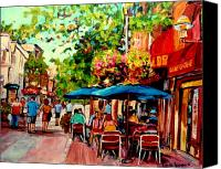 Montreal Restaurants Canvas Prints - Rue Prince Arthur Montreal Canvas Print by Carole Spandau