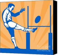 Player Canvas Prints - Rugby Goal Kick Canvas Print by Aloysius Patrimonio