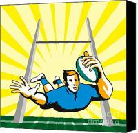 Illustration Canvas Prints - Rugby Player Scoring Try Retro Canvas Print by Aloysius Patrimonio
