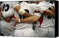 Bandages Canvas Prints - Rugby Players Huddle In A Scrum Canvas Print by Justin Guariglia