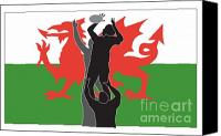 Player Canvas Prints - Rugby Wales Canvas Print by Aloysius Patrimonio