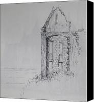 Ruin Drawings Canvas Prints - Ruin Canvas Print by Sheep McTavish