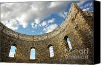 Ruins Canvas Prints - Ruin wall with windows of an old church  Canvas Print by Sandra Cunningham