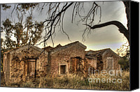Lonesome Canvas Prints - Ruined Sounion House 2 Canvas Print by Deborah Smolinske