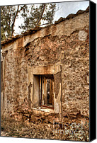 Lonesome Canvas Prints - Ruined Sounion House 3 Canvas Print by Deborah Smolinske