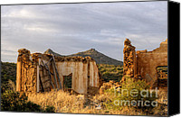 Lonesome Canvas Prints - Ruined Sounion House 9 Canvas Print by Deborah Smolinske