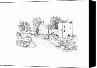 Ruins Drawings Canvas Prints - Ruins of Burleigh Castle Scotland Canvas Print by Betty Jean Burnett