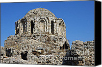 Byzantine Canvas Prints - Ruins of Byzantine Basilica Alanya Castle Turkey Canvas Print by Matthias Hauser