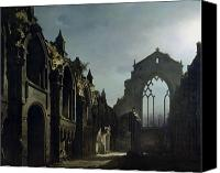Ruin Painting Canvas Prints - Ruins of Holyrood Chapel Canvas Print by Louis Jacques Mande Daguerre