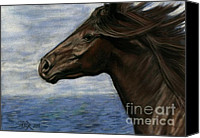 Wild Horse Pastels Canvas Prints - Run Free Canvas Print by Sheri Gordon