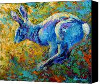 Forest Canvas Prints - Running Hare Canvas Print by Marion Rose