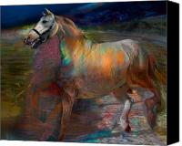 Horse Digital Art Canvas Prints - Running Horse Canvas Print by Henriette Tuer lund
