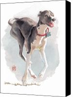 Greyhound Canvas Prints - Running Italian Canvas Print by Debra Jones