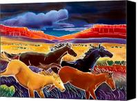 Wild Horses Canvas Prints - Running the Open Range Canvas Print by Harriet Peck Taylor