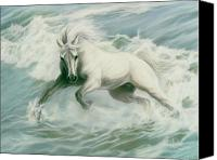 Equine Pastels Canvas Prints - Running Tide Canvas Print by Kim McElroy