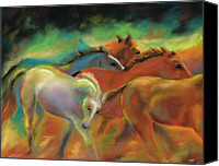 Horses Pastels Canvas Prints - Running with Friends Canvas Print by Frances Marino