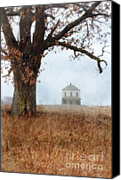 Eerie Canvas Prints - Rural Farmhouse and Large Tree Canvas Print by Jill Battaglia
