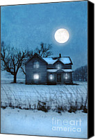 Snowy Night Canvas Prints - Rural Farmhouse Under Full Moon Canvas Print by Jill Battaglia