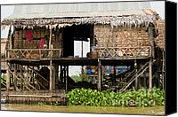 Sap Canvas Prints - Rural Fishermen Houses in Cambodia Canvas Print by Artur Bogacki
