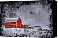 Barn Digital Art Canvas Prints - Rural Textures Canvas Print by Evelina Kremsdorf