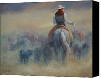 Cowboy Art Painting Canvas Prints - Rush Hour Traffic   western art cowboy painting Canvas Print by Kim Corpany