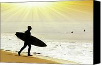 Surf Lifestyle Canvas Prints - Rushing Surfer Canvas Print by Carlos Caetano