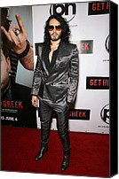 Gray Suit Canvas Prints - Russell Brand At Arrivals For Get Him Canvas Print by Everett