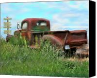 Rusted Cars Canvas Prints - Rusted Not Retired Canvas Print by Colleen Taylor